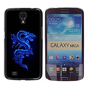 YiPhone /// Prima de resorte delgada de la cubierta del caso de Shell Armor - Blue Tribal Dragon - Samsung Galaxy Mega 6.3 I9200 SGH-i527