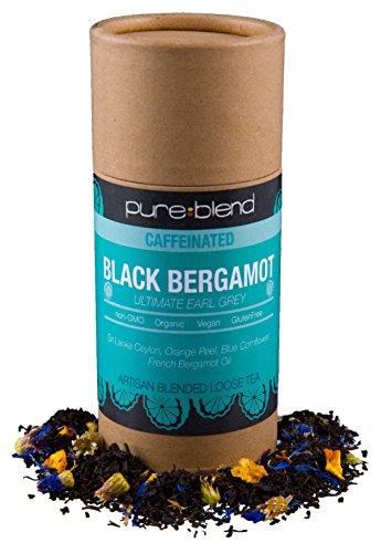 Pureblend Black Tea - Black Bergamot Earl Grey Loose Leaf Tea - Hand Blended, Organic Tea with Fair Trade Ingredients - Ceylon Tea & Assam Tea with Organic Bergamot Oil & Herbs - 2 Ounces (Ceylon Tea Blended Teas)