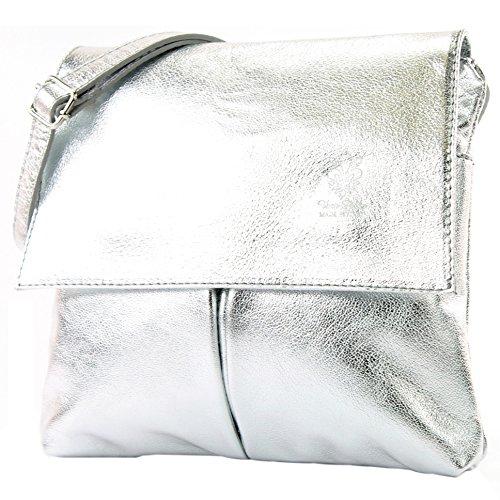 Italian bag shoulder bag messenger satchel women's bag real leather T63 Silver