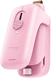 YYXS Bag Sealer Machine 2 in 1 Features,Food Saver For Plastic Bags Mini Vacuum Sealers (With battery) (Pink)