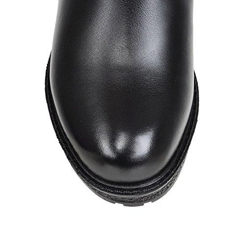 Allhqfashion Dames Low-top Solid Rits Ronde Gesloten Neus Kitten-hakken Laarzen Zwart