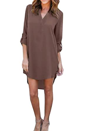 9382e9c1b09a0 Femme Mini Robe Chemise Casual à Manches Longues Robe été Chemisier Robe  Top Tunique Blouse Long