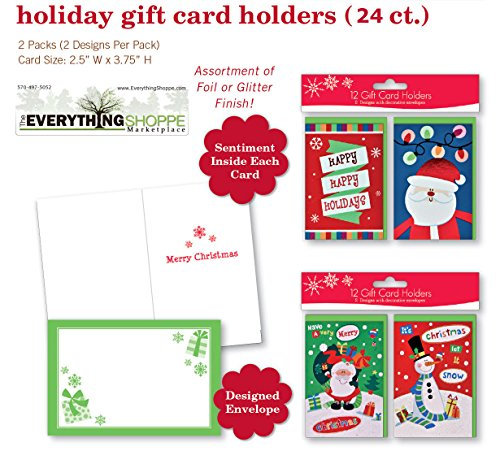 Christmas Gift Card Holders with Embellished Glitter and Foil Finish for Gift Cards Snowman, Santa, - Gift Snowman Card Holder