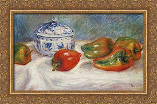 Still Life with a Blue Sugar Bowl and Peppers 24x16 Gold Ornate Wood Framed Canvas Art by Renoir, Pierre-Auguste (Open Bowl Sugar Gold)