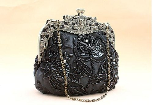 c92a1572302 Amazon.com: Beaded Vintage Evening Bag with Antique Frame - Olive Taupe  Satin W/Removable Chain (Black): Beauty