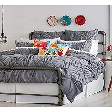The Pioneer Woman Ruched Chevron Comforter, King Gray