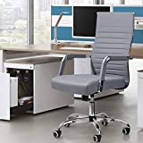 Furmax Ribbed Office Desk Chair Mid-Back PU Leather