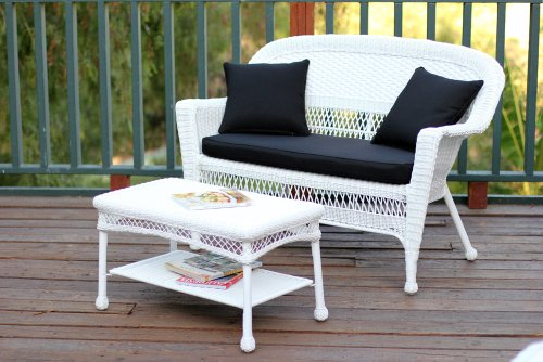 Jeco W00206-LCS017 Wicker Patio Love Seat and Coffee Table Set with Black Cushion, White (Set Loveseat Wicker White)