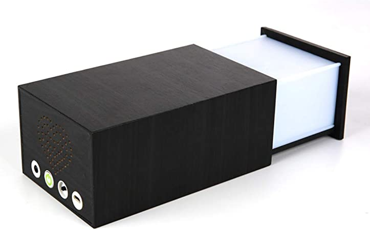 WM Lámpara de Mesa con Toque Creativo LED Pandora Caja mágica Caja de Madera multifunción Bluetooth Audio lámpara de Mesa luz del Altavoz mágico,Black: Amazon.es: Hogar