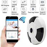 Reching Panoramic 360°1080P IP Camera,Wireless WiFi Surveillance Security Network Camera with IR Night Vision/2-way Audio/Motion Detection Smart Phone view