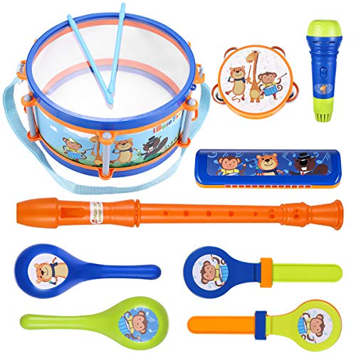 iBaseToy Toddler Musical Instruments, Toddler Drum Set, Kids Drum Percussion Musical Set with Tambourine, Maraca…