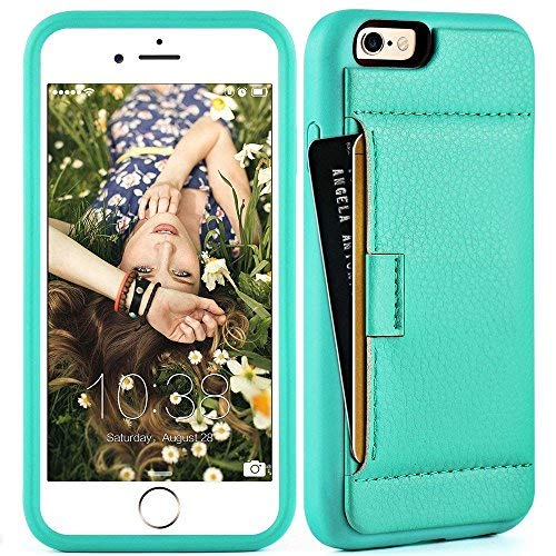 ZVE Wallet Case for Apple iPhone 6s and iPhone 6, 4.7 inch, Slim Leather Wallet Case with Credit Card Holder Slot Pocket Protective Case Cover for Apple iPhone 6 / 6s - Mint Green (Card Review Credit Aqua)