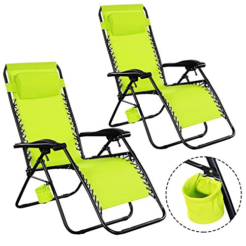 NEW sudden comfort folding chair 2PC Chairs Lounge Patio Folding Recliner Outdoor Green W/Cup Holder (Canvas Reclining Recliner)