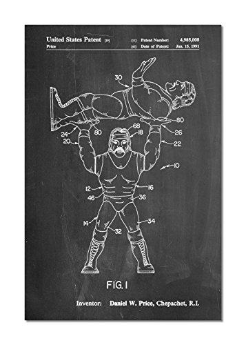 PatentPrints Hulk Hogan Wrestling Action Figure Patent Poster Color Chalkboard Size 16x20