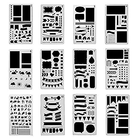12 Plantillas de dibujo para el diario, para pintar formas, letras, de bricolaje, plantilla, 10 x 17 cm