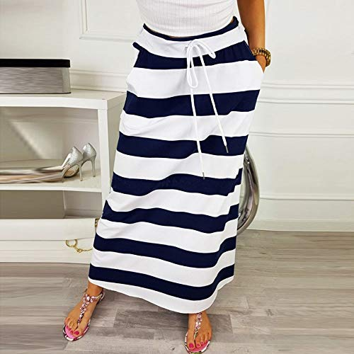 Taille Extensible Women Poches en Sixcup Bleu Longue Long en Jupe Maxi Femme Jupe Ray Jersey Fonc Jersey TH7PTfq