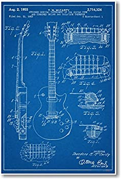 Gibson Les Paul Guitar Patent - NEW Famous Invention Blueprint Poster