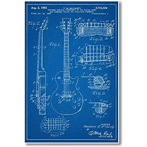 Blueprint posters amazon gibson les paul guitar patent new famous invention blueprint poster malvernweather Choice Image