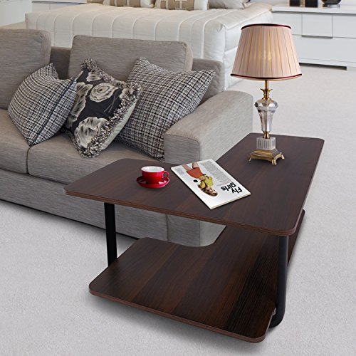 Lifewit 2-Tier Couch Side End Table, L-Shape Huge Capacity Sofa Table Desk, Espresso