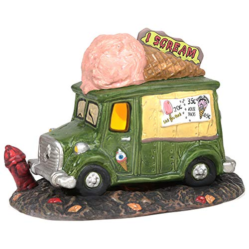 Department 56 Snow Village Halloween Accessories I Scream Ice Cream Truck Lit Figurine, 4.72 inch, Multicolor