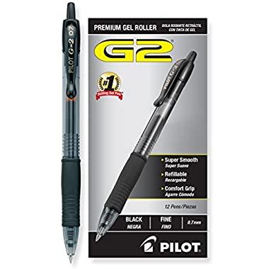Pilot G2 Retractable Premium Gel Ink Roller Ball Pens, Fine Point, Black, 12-Pack (31020)