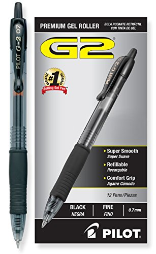 Pilot G2 Retractable Premium Gel Ink Roller Ball Pens Fine Point Black Ink Dozen Box (31020)