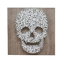 Cuadro Calaca, Skull Halloween Día de Muertos String Art Cuadro Decorativo Negro Blanco Calaca Niño Niña Madera Nogal Arte Hilo y Clavos 20cm X 20cm String Art Cuarto Infantil Adolescentes