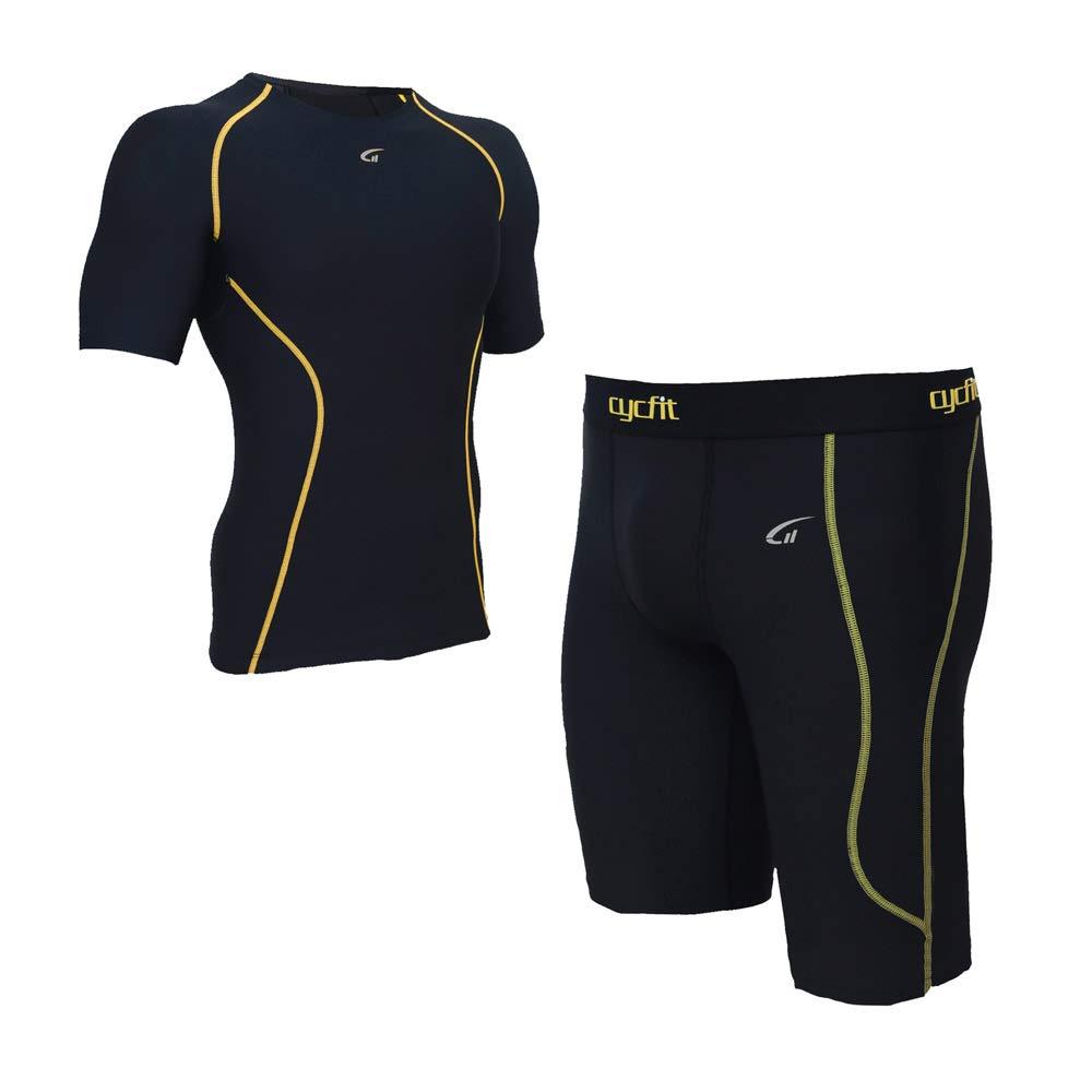 PPSGY Männer Kompressions-Gymnastik Laufbekleidung Set Training Kurzarm Skinny Shorts