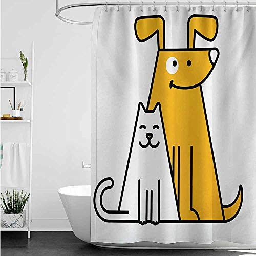 home1love Hotel Style Shower Curtain,Cartoon Cats and Dogs Human Best Friends Forever Kids Nursery Room Art Print,Art Print Polyester,W47x63L,Black White and Apricot
