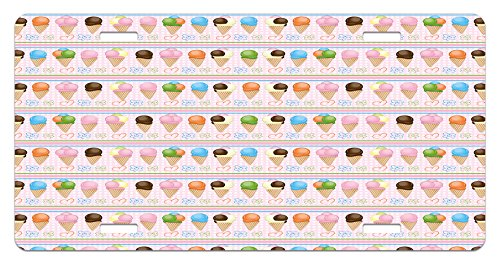 Ice Cream License Plate by Lunarable, Horizontal Borders with Dots Stripes Creamy Milky Desserts Flowers and Hearts, High Gloss Aluminum Novelty Plate, 5.88 L X 11.88 W Inches, Multicolor (Milky Dots)