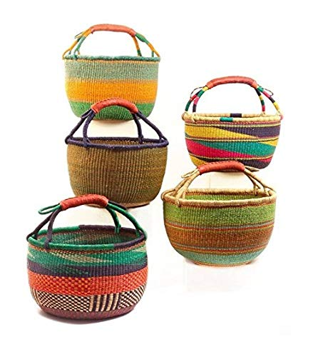 Bolga Baskets International Large Market Basket w/Leather Wrapped Handle