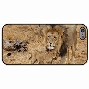 iPhone 5 5S Black Hardshell Case male cubs family africa predators Desin Images Protector Back Cover