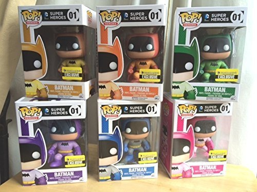 Funko Rainbow Batman Pop Vinyl 75th Anniversary Exclusive Collector's Set (All 6 (Batman Different Colored Costumes)