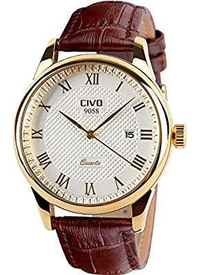 CIVO Men's Luxury Brown Leather Band Date Calendar Wrist Watch Casual Business Waterproof Gold Watch by CIVO