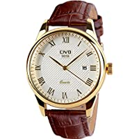 CIVO Men's Luxury Date Calendar Wrist Watches Men Casual Business Dress Waterproof Watch Simple Design Fashion Classic Analogue Quartz Watches for Men (Brown)