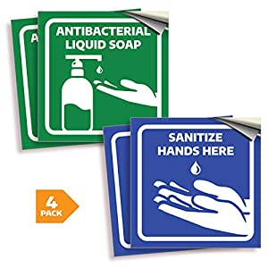 Antibacterial Soap/Sanitize Hands Signs Stickers – 4 Pack 6×6 Inch – Premium Self-Adhesive Vinyl, Labels, Laminated for…
