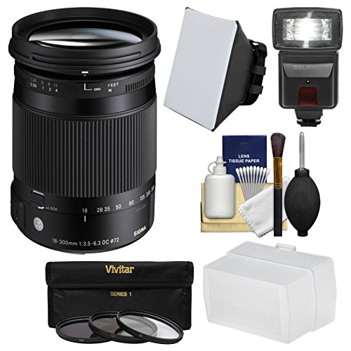 Sigma 18-300mm f/3.5-6.3 Contemporary DC Macro OS HSM Zoom Lens for Canon EOS DSLR Cameras with Flash + Soft Box & Diffuser + 3 UV/CPL/ND8 Filters Kit