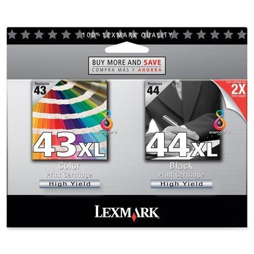 18Y0372 Lexmark No. 43/44 Twin Pack High Yield Black and Color Ink Cartridge - Assorted, Color - Inkjet - 2 / Pack