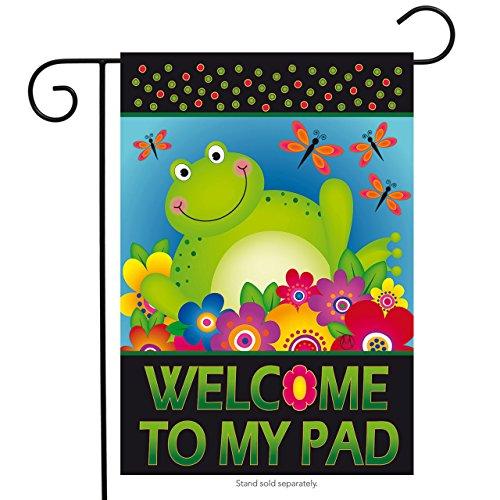 Frog Garden Flag (Frog Welcome Summer Garden Flag Floral Dragonflies Briarwood Lane 12.5