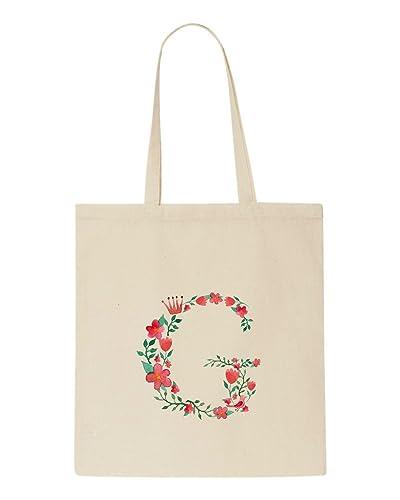 c77fc48a4 Alphabet Letter G - Fairy Tale Flower Set Customised Tote Bag Shopper -  Natural