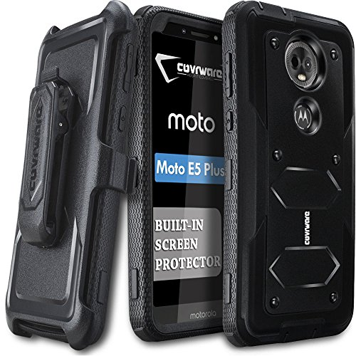 Moto E5 Plus / E5 Supra Case, COVRWARE [ Aegis Series ] Case with Built-in [Screen Protector] Heavy Duty Full-Body Rugged Holster Armor Case [Belt Swivel Clip][Kickstand], Black - Body Operations Special Armor