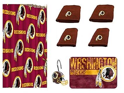 NFL Washington Redskins 18 Piece Bath Ensemble 36202660 Set Includes 1 Shower Curtain