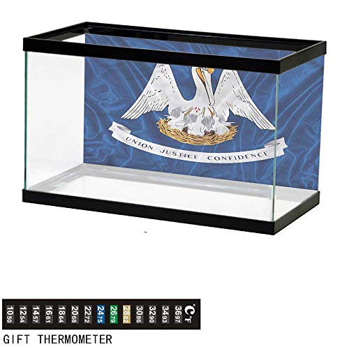 - bybyhome Fish Tank Backdrop American,Pelicans Flag Louisiana,Aquarium Background,36