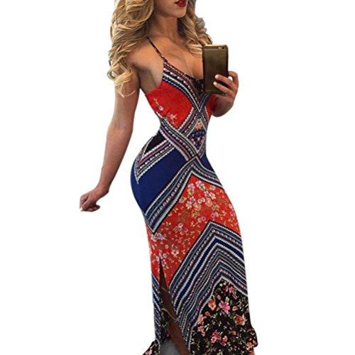 Bekleidung Longra Damen Sommerkleid Casual langes Boho Maxi Kleid ...