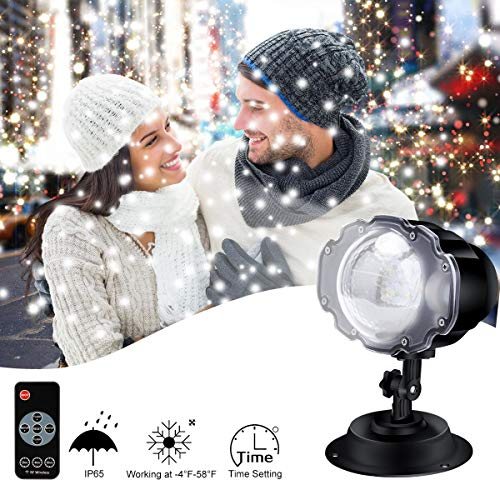 ECOWHO Christmas Projector Light, LED Snowfall Lanscape Lights with Remote for Outdoor, Indoor, Xmas, Holiday, Party Decorations (Best Xmas Light Projector)