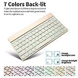 iPad Pro Keyboard, SENGBIRCH Ultra Slim 7 Colors Back-lit Bluetooth Keyboard for iPad Pro, iPad Air 3/2/1, iPad Mini 4/3/2/1, iPad 4/3/2 and other Bluetooth Enabled Devices, Gold