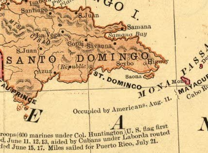 1898 Goffs Map of the Spanish American War Carribean 16x24
