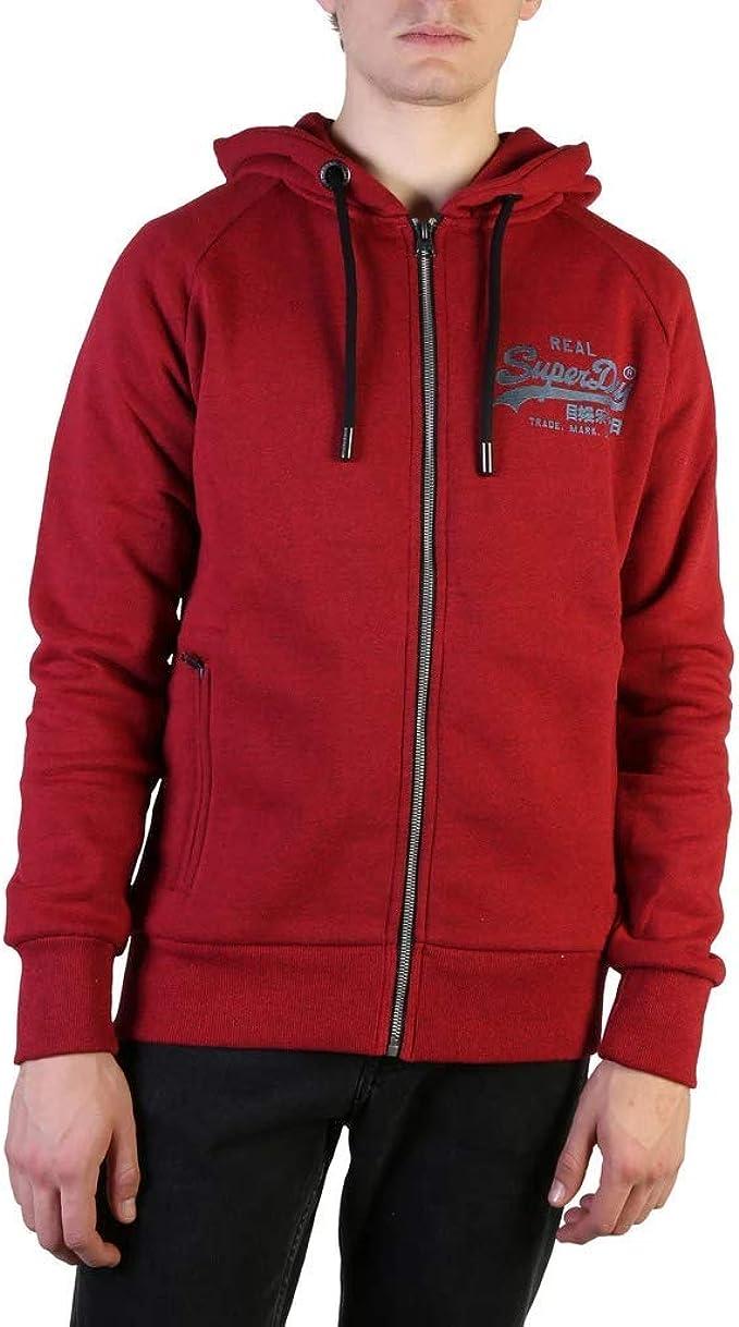 Superdry Men's Vintage Logo Monochrome Zip Hoodie, Red at