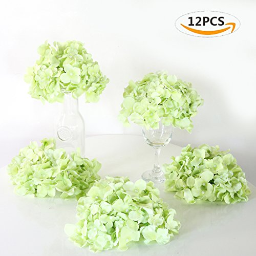 Veryhome Blooming Silk Hydrangea Flower Heads for DIY Bouquets,Wedding Centerpieces,Home Decor (12pcs,green) (Wreath Green Hydrangea)