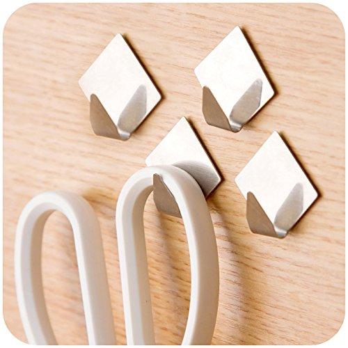 HOKIPO® Set of 4 Diamond Shaped Multipurpose Stainless Steel Adhesive Hooks – Load Capacity Upto 1.5 KG